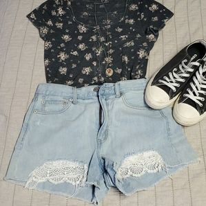 American eagle thermal scoop neck floral t…